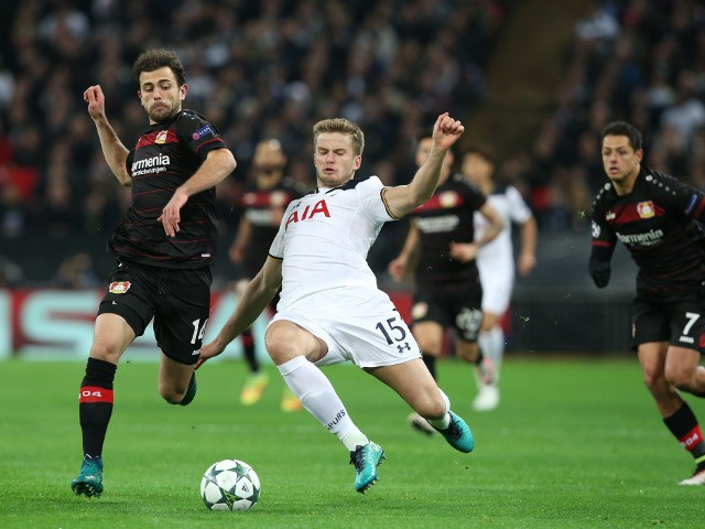 Tottenham Hotspur's Eric Dier slides in for a challenge on Admir Mehmedi of Bayer Leverkusen during the Champions League Group E clash at Wembley Stadium on November 2, 2016