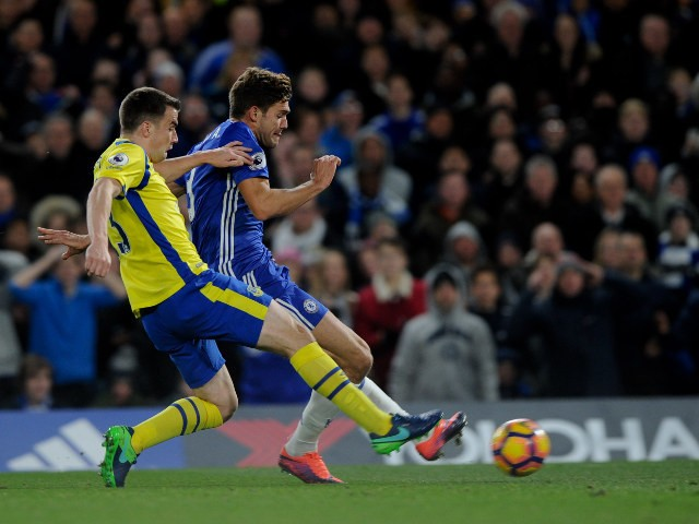 Marcos Alonso scores his first goal for Chelsea during their Premier League clash with Everton at Stamford Bridge on November 5, 2016