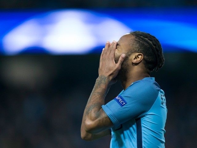 Raheem Sterling of Manchester City in action during his side's Champions League clash with Barcelona at the Etihad Stadium on November 1, 2016