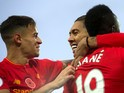 The Premier League's greatest trio Philippe Coutinho, Sadio Mane and Roberto Firmino celebrate during the 6-1 win over Watford at Anfield on November 6, 2016