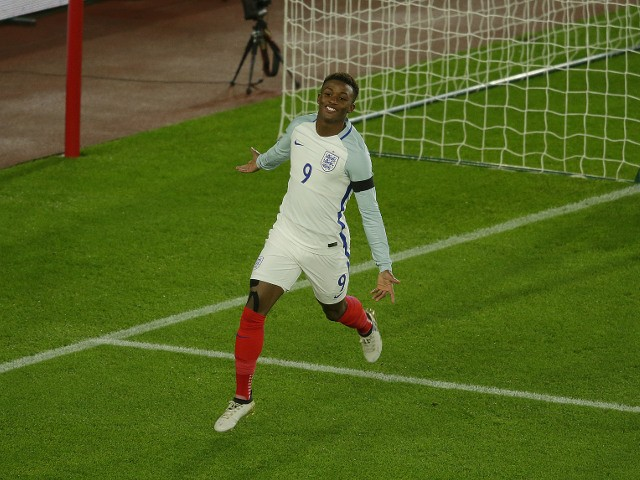 Demarai Gray celebrates scoring for England Under-21s during their friendly against Italy Under-21s at St Mary's Stadium on November 10, 2016
