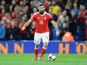 Wales midfielder Joe Ledley in action during his side's World Cup qualifier with Serbia on November 12, 2016
