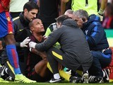 Vincent Kompany is down injured during the Premier League game between Crystal Palace and Manchester City on November 19, 2016