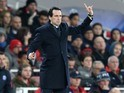 Unai Emery watches on during the Champions League game between Arsenal and PSG on November 23, 2016