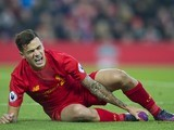 Philippe Coutinho goes down injured during the Premier League game between Liverpool and Sunderland on November 26, 2016