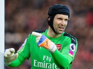Arsenal goalkeeper Petr Cech in action during the Premier League clash with Manchester United at Old Trafford on November 19, 2016