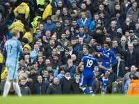 Willian celebrates scoring during the Premier League game between Manchester City and Chelsea on December 3, 2016