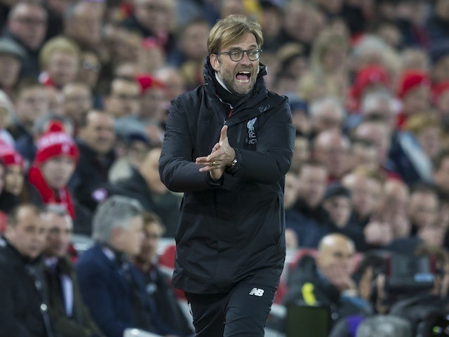 Jurgen Klopp shouts orders during the Premier League game between Liverpool and Manchester City on December 31, 2016