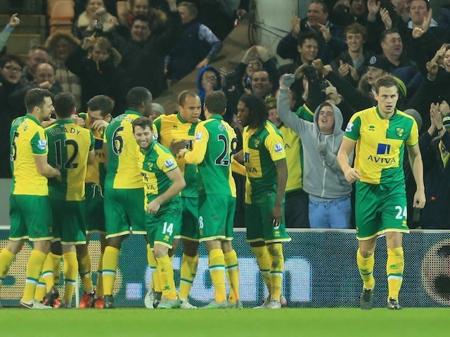 Alexander Tettey celebrates scoring during the game between Norwich and Southampton on January 2, 2016