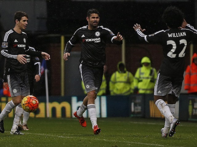 Diego Costa celebrates with fellow goalscorers Willian and Oscar during the game between Crystal Palace and Chelsea on January 3, 2016
