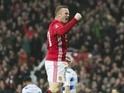 Wayne Rooney celebrates scoring during the FA Cup game between Manchester United and Reading on January 7, 2017