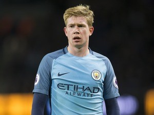 Kevin De Bruyne in action during the Premier League game between Manchester City and Burnley on January 2, 2017