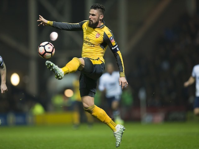 Olivier Giroud in action during the FA Cup game between Preston North End and Arsenal on January 7, 2017