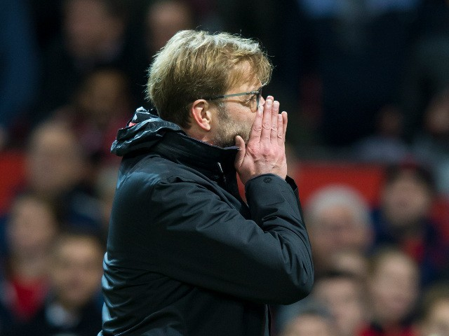 Liverpool manager Jurgen Klopp watches on during the Premier League clash with Manchester United at Old Trafford on January 15, 2017