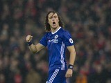 David Luiz celebrates scoring during the Premier League game between Liverpool and Chelsea on January 31, 2017