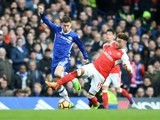 Eden Hazard and Alex Oxlade-Chamberlain in action during the Premier League game between Chelsea and Arsenal on February 4, 2017
