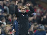 Jurgen Klopp is a happy man during the Premier League game between Liverpool and Tottenham Hotspur on February 11, 2017