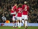 Manchester United's Zlatan Ibrahimovic celebrates scoring against Saint-Etienne in the Europa League on February 16, 2017