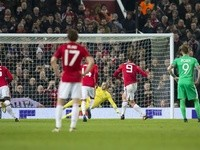 Manchester United's Zlatan Ibrahimovic scores a penalty against Saint-Etienne in the Europa League on February 16, 2017