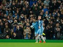 Sergio Aguero and Kevin De Bruyne celebrate after another Manchester City goal during the Champions League last 16 first leg against AS Monaco at the Etihad Stadium on February 21, 2017