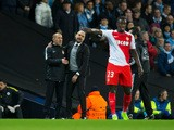 Manchester City manager Pep Guardiola and AS Monaco counterpart Leonardo Jardim discusses a controversial penalty call during the Champions League last 16 first leg between the two sides at the Etihad Stadium on February 21, 2017