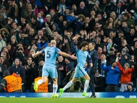 Manchester City winger Leroy Sane celebrates after scoring during the Champions League last 16 first leg against AS Monaco at the Etihad Stadium on February 21, 2017