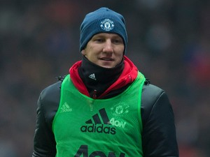 Manchester United midfielder Bastian Schweinsteiger warms up during his side's FA Cup fifth round clash with Blackburn Rovers at Ewood Park on February 19, 2017