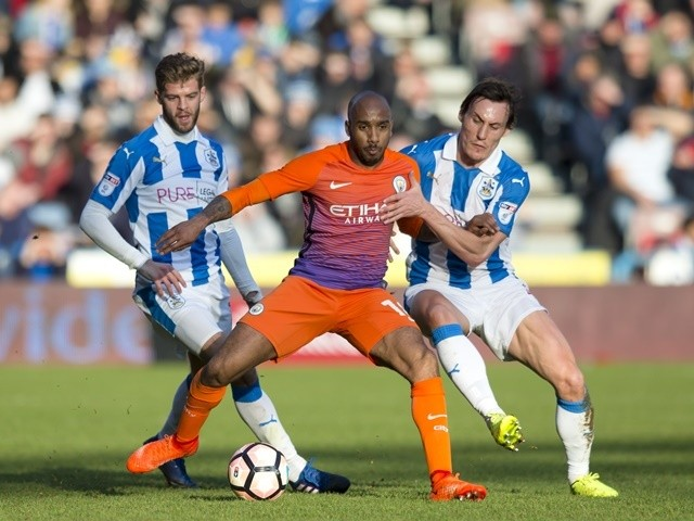 Manchester City's Fabian Delph in action against Huddersfield Town on February 18, 2017