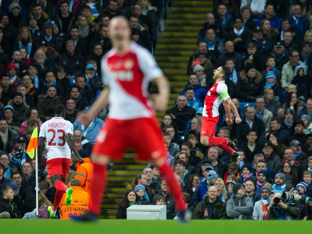 AS Monaco striker Radamel Falcao celebrates after scoring in the Champions League last 16 first leg against Manchester City at the Etihad Stadium on February 21, 2017