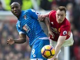 Benik Afobe and Phil Jones in action during the Premier League game between Manchester United and Bournemouth on March 4, 2017