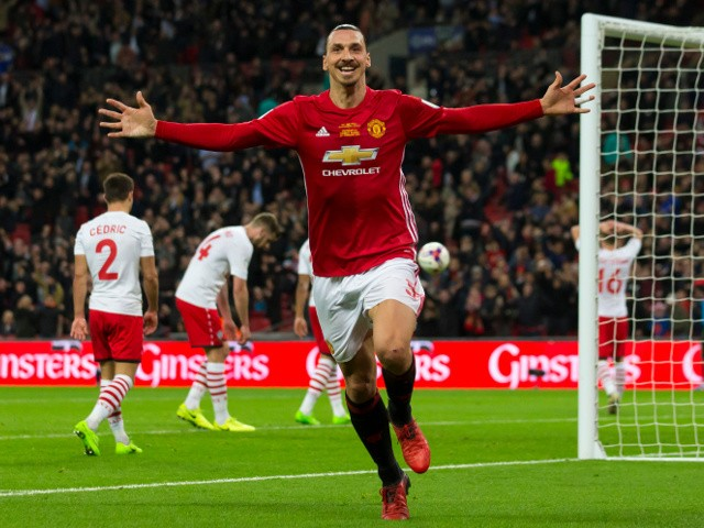 Manchester United striker Zlatan Ibrahimovic celebrates after scoring during his side's EFL Cup final victory over Southampton at Wembley on February 26, 2017
