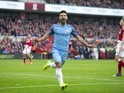 Sergio Aguero celebrates scoring during the FA Cup quarter-final between Middlesbrough and Manchester City on March 11, 2017