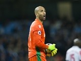 Stoke City goalkeeper Lee Grant calls out to teammates in the match against Manchester City on March 8, 2017
