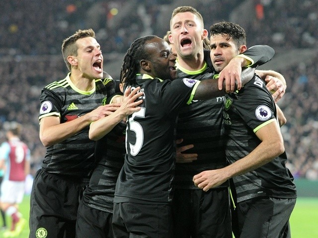 Chelsea players celebrate Diego Costa's goal against West Ham United on March 6, 2017