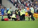 Pedro Obiang is stretchered off during the Premier League game between West Ham United and Leicester City on March 18, 2017