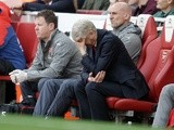 Arsenal manager Arsene Wenger reacts during the Premier League match against Manchester City on April 2, 2017