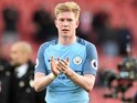 Man of the match Kevin De Bruyne applauds after the Premier League game between Southampton and Manchester City on April 15, 2017`