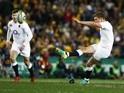 England's Owen Farrell kicks a penalty in the match against Australia on June 25, 2016