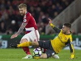 Aaron Ramsey fouls Adam Clayton during the Premier League game between Middlesbrough and Arsenal on April 17, 2017