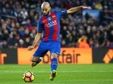 Javier Mascherano and his imaginary friend in the La Liga match between Barcelona and Malaga on November 19, 2016