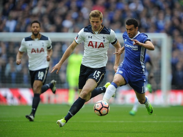 Eric Dier and Pedro tussle during the FA Cup semi-final between Chelsea and Tottenham Hotspur on April 22, 2017