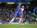 Eden Hazard in action during the Premier League game between Chelsea and Southampton on April 25, 2017