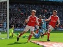 Arsenal's Nacho Monreal celebrates scoring his side's first goal during the FA Cup semi-final against Manchester City on April 23, 2017