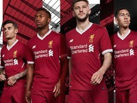 Liverpool players model the new home kit for the 2017-18 season