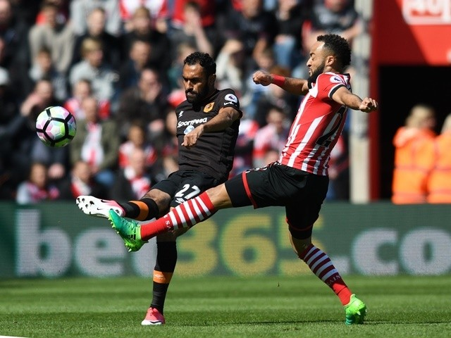 Ahmed Elmohamady and Nathan Redmond during the Premier League match between Southampton and Hull City on April 29, 2017