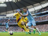 Gabriel Jesus and Jeffrey Schlupp in action during the Premier League game between Manchester City and Crystal Palace on May 6, 2017