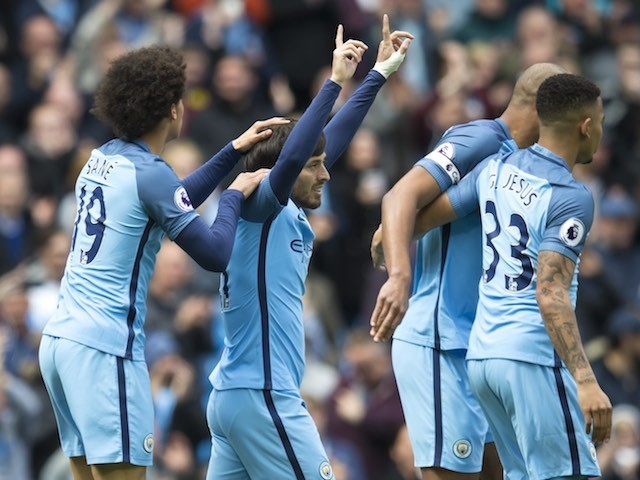 David Silva celebrates scoring during the Premier League game between Manchester City and Crystal Palace on May 6, 2017