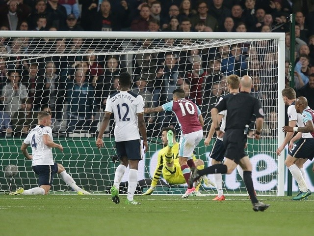 Manuel Lanzini of West Ham United scores against Tottenham Hotspur in the Premier League on May 5, 2017