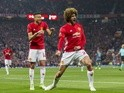 Manchester United midfielder Marouane Fellaini celebrates scoring in the Europa League match against Celta Vigo on May 11, 2017