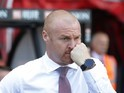 Sean Dyche watches on during the Premier League game between Bournemouth and Burnley on May 13, 2017